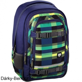 4fa0fea27c4 Školní batoh All Out Selby Backpack Summer Check Green empty